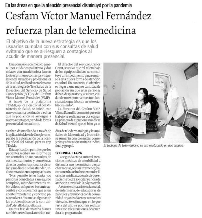 Cesfam Víctor Manuel Fernández Refuerza Plan De Telemedicina